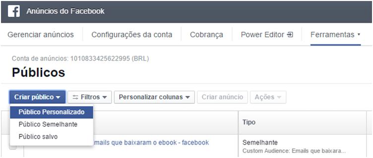 Criando público - Como fazer remarketing no facebook
