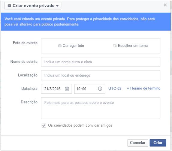 Configurando - Criar Evento no facebook