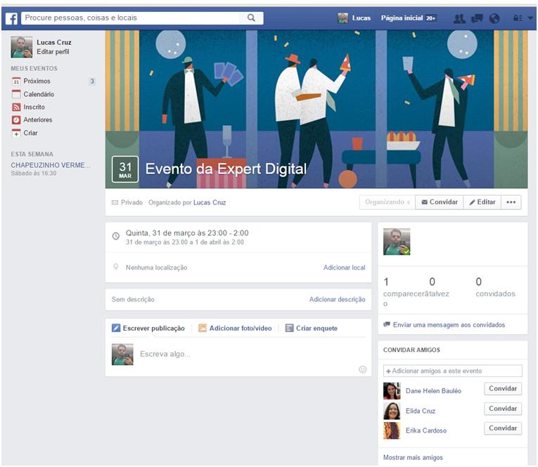 Evento criado - Criar Evento no facebook