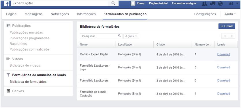 Biblioteca de formulários - Facebook Leads Ads