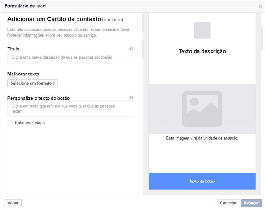 Cartão de Contexto - Facebook Leads Ads
