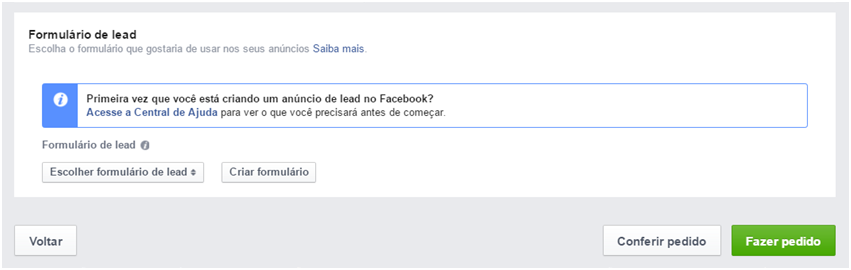 Formulário de Leads - Facebook Leads Ads