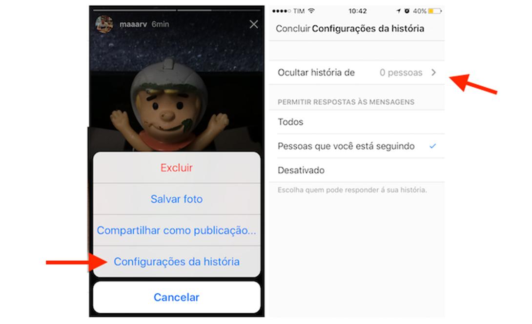 Acessando as configurações de privacidade do Instagram Stories