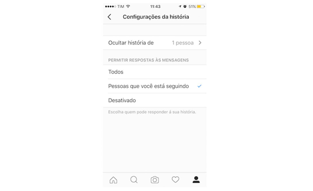 Opções de privacidade das histórias do Instagram
