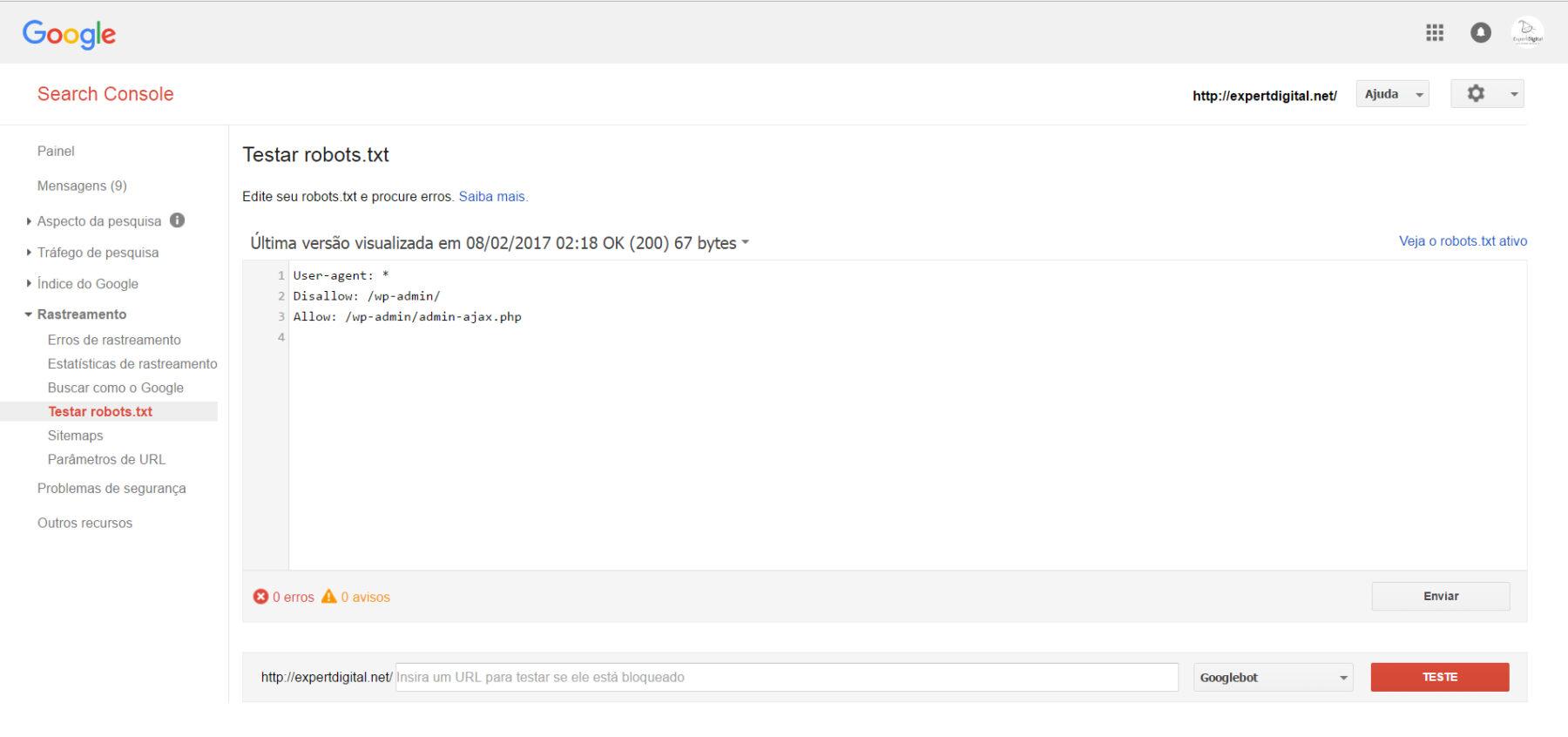 Enviar o robots.txt atualizado para o Google
