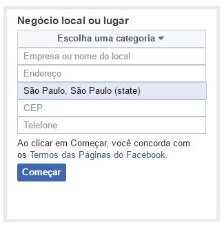 Negócio local - Como Criar uma Página Empresarial no Facebook