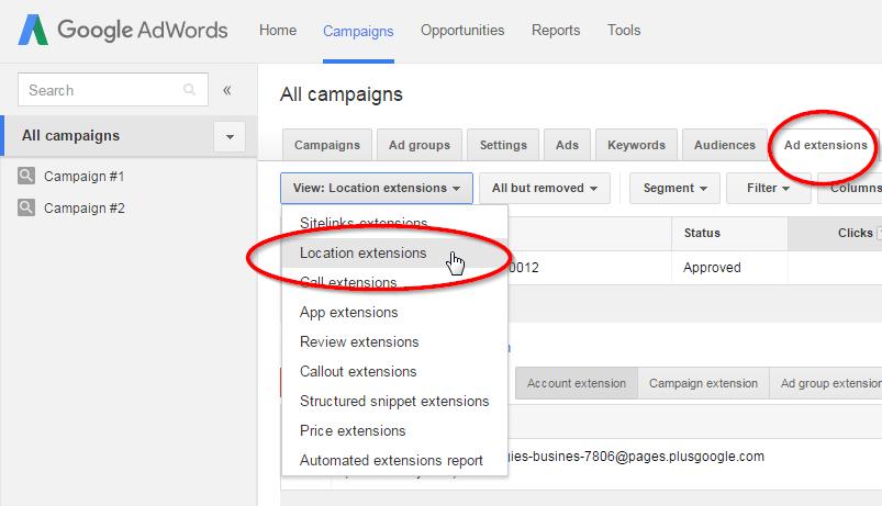 Google Meu Negócio - Extensão do Google Adwords