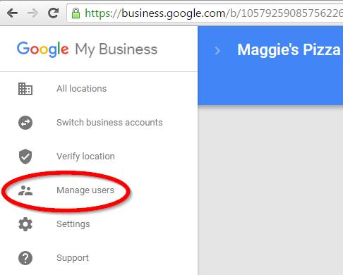 Google Meu Negócio - Gerenciar Usuários