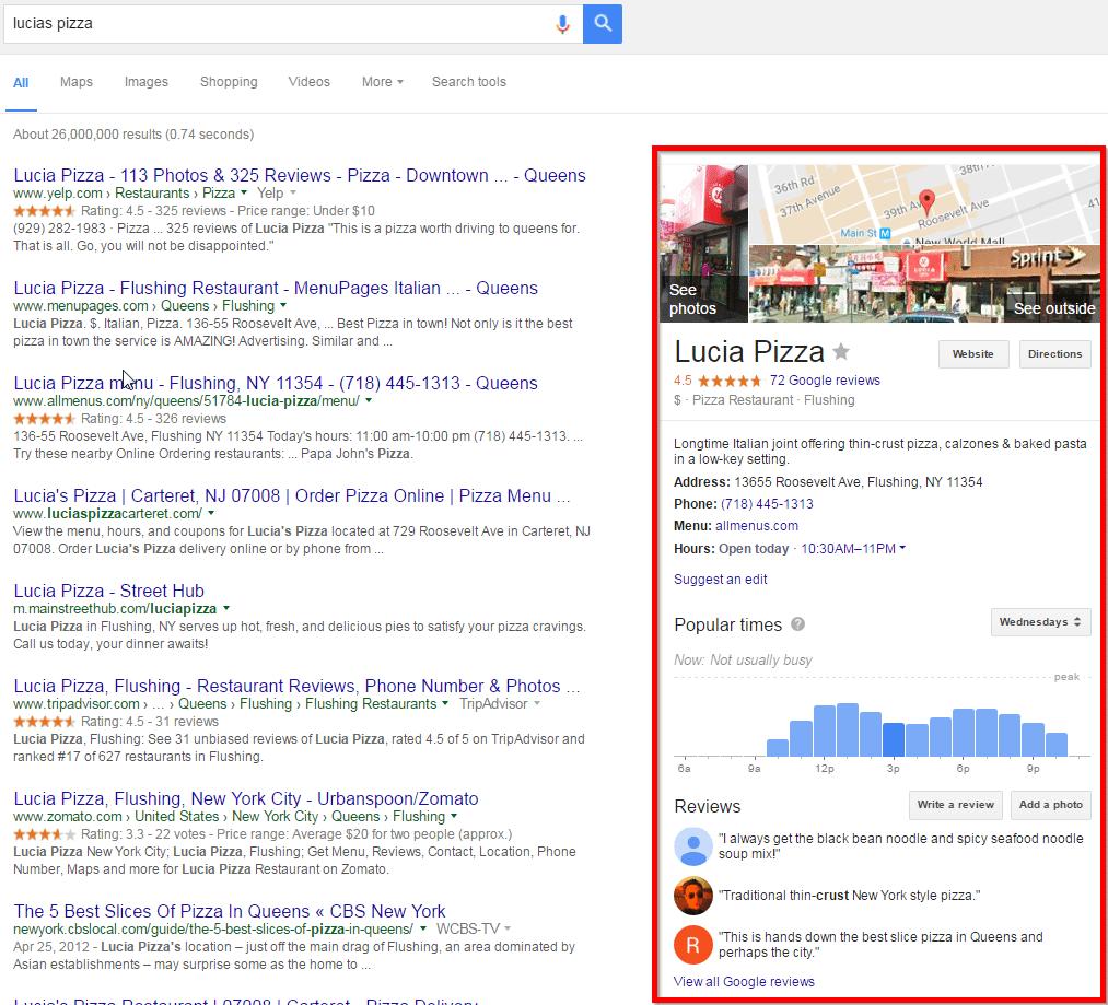 Google My Business - Sidebar